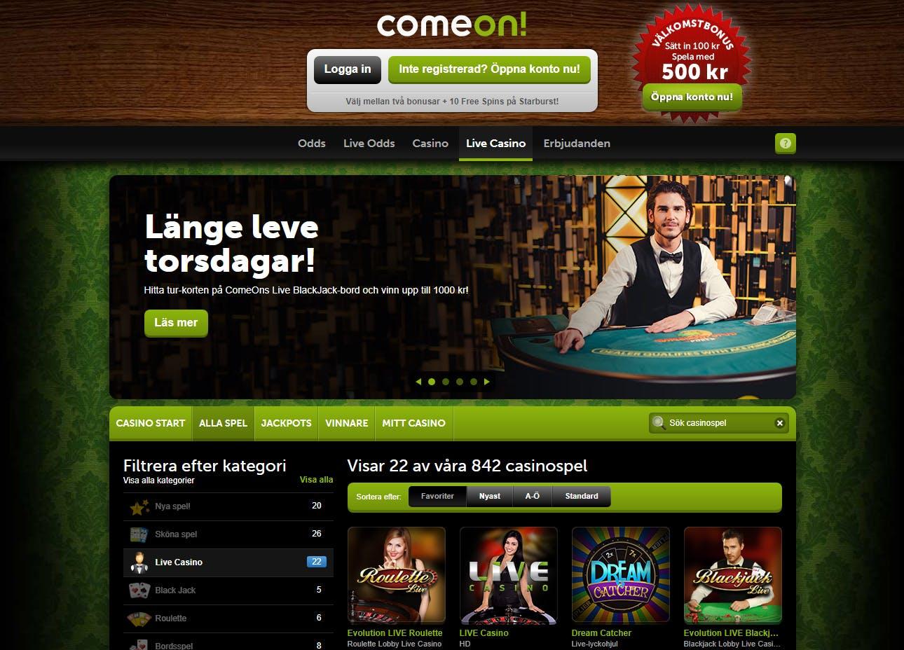 Comeon gäst casinospel Leichtdominanten