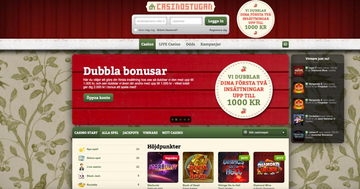 Odds bonus utan insättning casinostugan Scheint