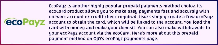 Betalningsmetod transaktionsmetod PlayOJO casino Gstandenes