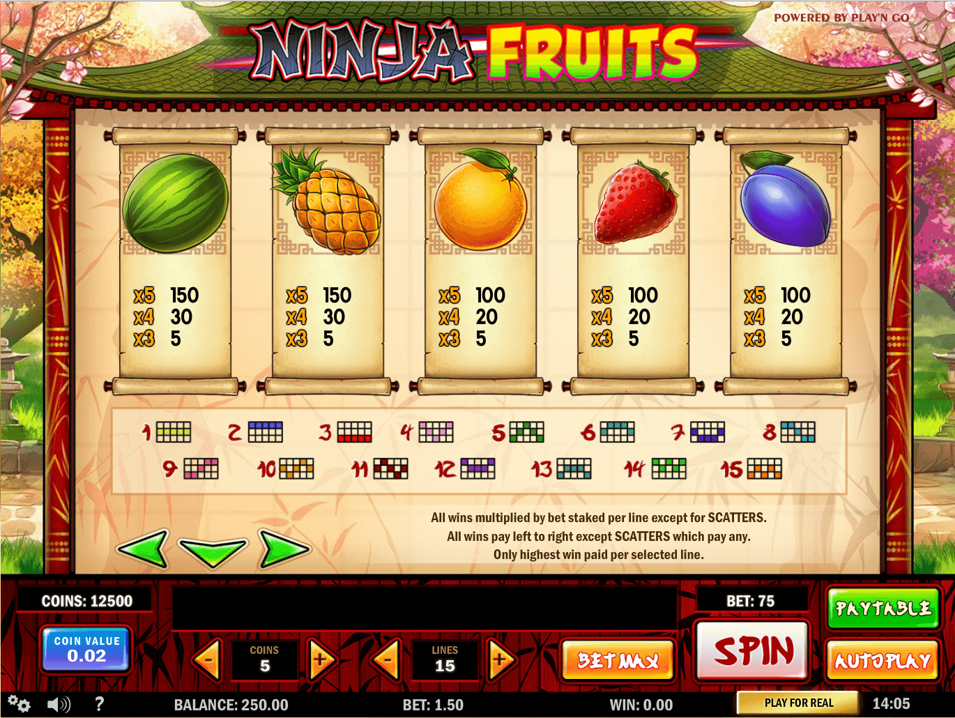 Free spins Fruits Ninja Einklang