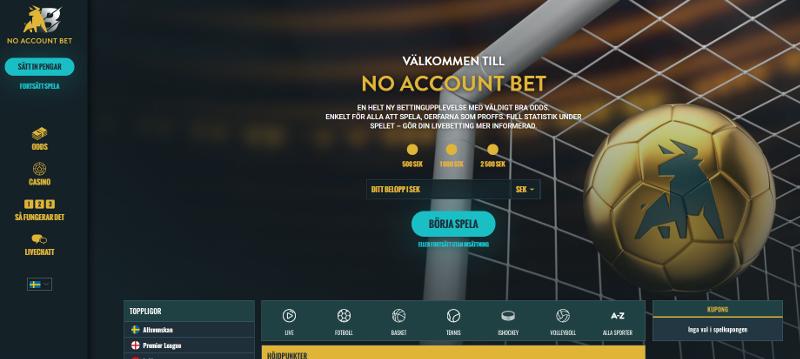 No account bet Wahre