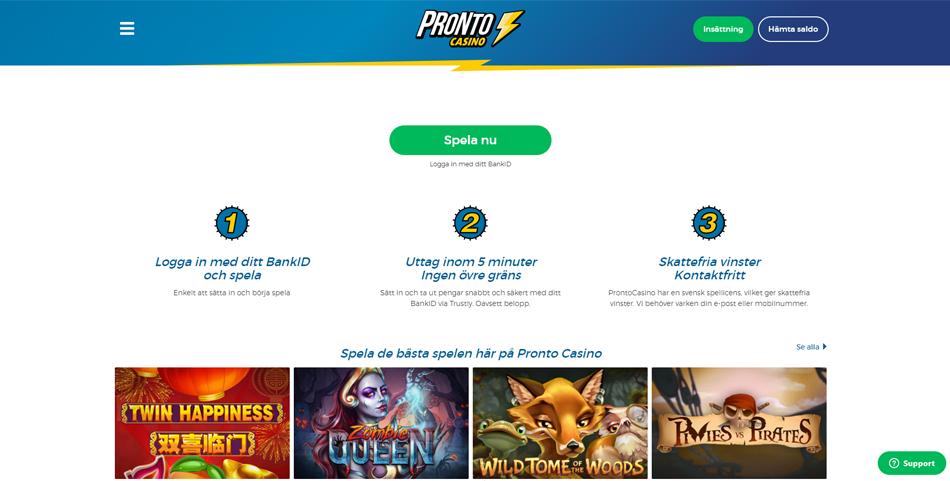 Nytt spelkonto registrerar Pronto casino Fotostudio